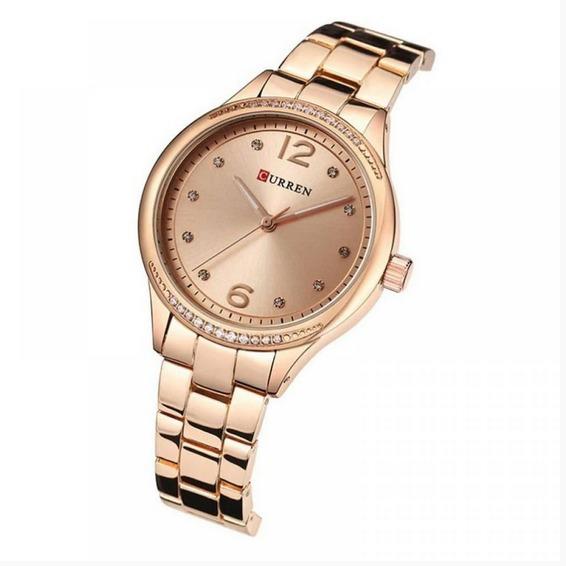 Relógio Feminino Curren Analógico C9003l - Rose Frete Gratis