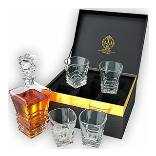 Decantador De Whisky, Con 4 Vasos, En Caja De Regalo