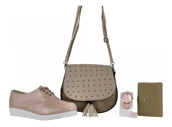Kit Bolsa Feminina Carteira + Relógio + Sapato Dia Das Mães