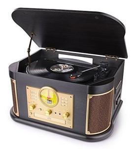 D Y L Vintage Wood 7in1 Tocadiscos Con Bluetooth Con Altavoc