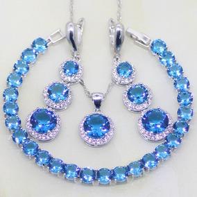Conjunto Colar + Brincos + Pulseira Feminino Cristal Azul