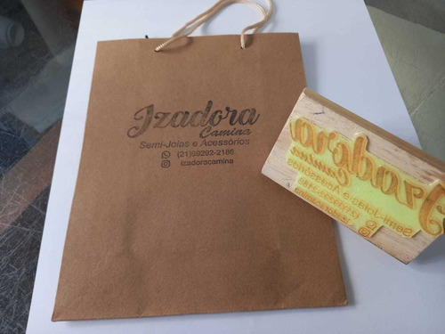 Carimbos De Madeira  11x7cm  Para Sacola Kraft