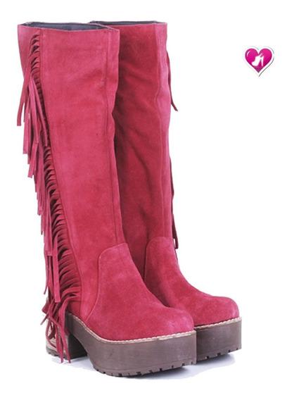 Botas 100% Cuero Flecos Nva Temp Mod Michel De Shoes Bayres