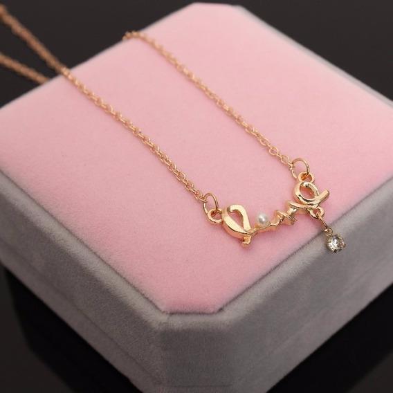 Presente Criativo Namorada Colar Folheado Ouro 18k Love