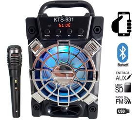Caixa De Som Bluetooth Amplificada Karaokê Mp3 Led Colorido
