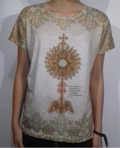 Camiseta Feminina Religiosa Santíssimo 6x Sem Juros