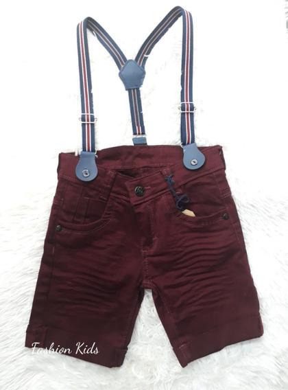 Bermuda Short Bebê Jeans Com Suspensório Vinho 1 À 3 Anos