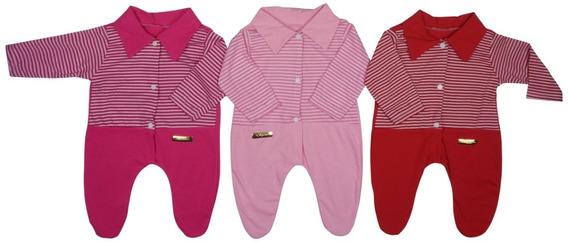 Macacão Bebê Recém-nascido Menina - Kit Com 3 Unidades
