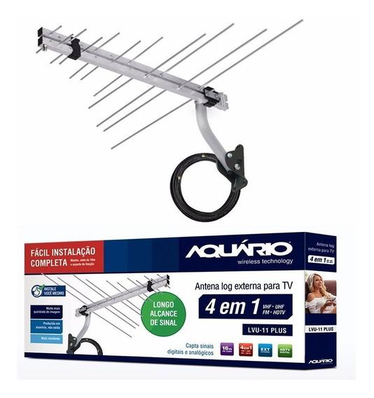 Antena Externa Digital 4x1 Lvu-11 Plus Aquário + Cabo Brinde