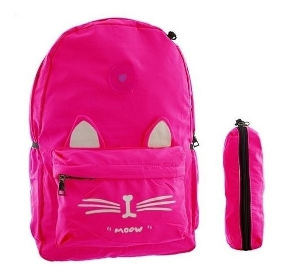 Mochila Escolar Con Diseño De Gato Poliester Calidad Premium