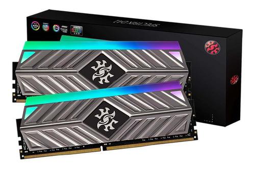 Imagem 1 de 3 de Memoria 16gb (2x8gb) Ddr4 3200 Rgb Xpg Spectrix D41 Tungsten