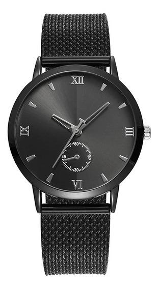 Reloj Negro Extensible Plástico Efecto Metal
