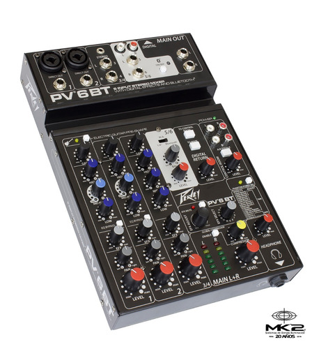 Peavey Pv-6 Bt Consola Mixer 6 Ch Bluetooth Usb Efx Pv6bt 6p