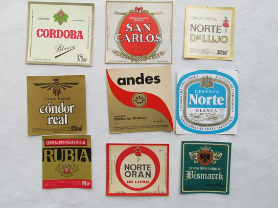 Antiguas Etiquetas De Cerveza Varias Oran Norte Andes Cordoba G#l