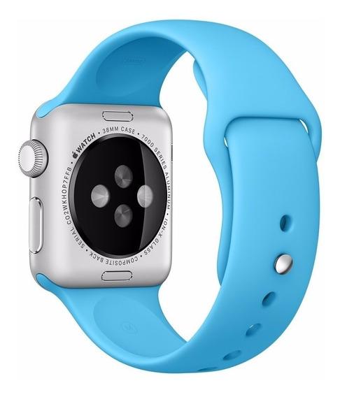Pulseira De Silicone Sport Azul P/ Apple Watch 42mm