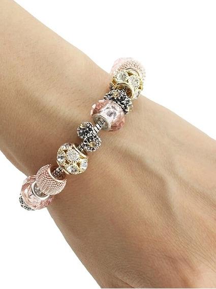 Bracelete Com Berloques Banhado 18-19cm