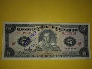 Billete De 5 Sucres De Abril 1977 Banco Central Del Ecuador