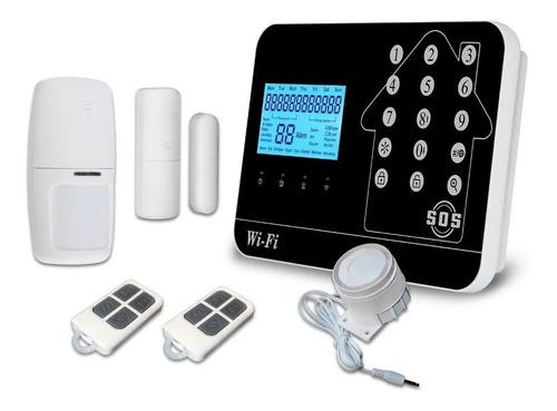 Imagen 1 de 6 de Alarma Seguridad Gsm Wifi Pstn 4 Sensores! Sirena Env Gratis