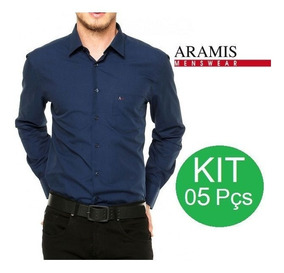 Kit 05 Camisa Social Slim Fit Manga Longa
