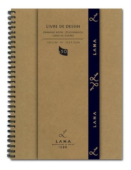 Caderno De Desenho Hahnemühle Lana Espiral 150g A4 50 Folhas