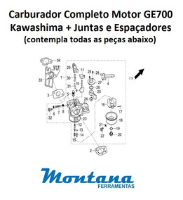 Carburador Completo Motor Kawashima Ge700 7hp + Juntas
