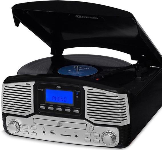 Toca Discos Jazz Vitrola Cd Gravação Bluetooth Fm Preto