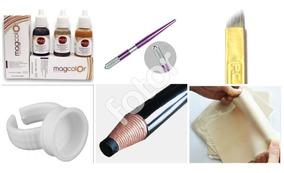 Kit Microblading Micropigmentação Tebori Lâmina Pele Lápis
