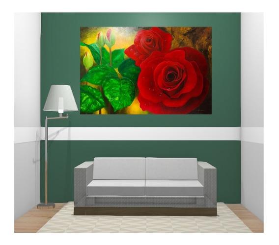 Quadro Decorativo Flores Rosas Vermelhas Pintura Óleo Painel
