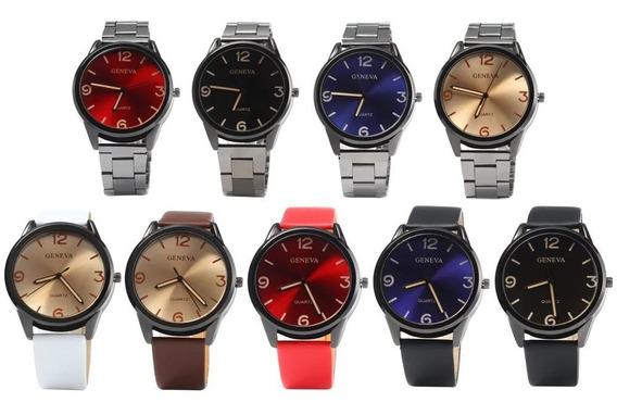 Relógio Geneva Stainless Steel Strap Men Quartz Watch - Blue