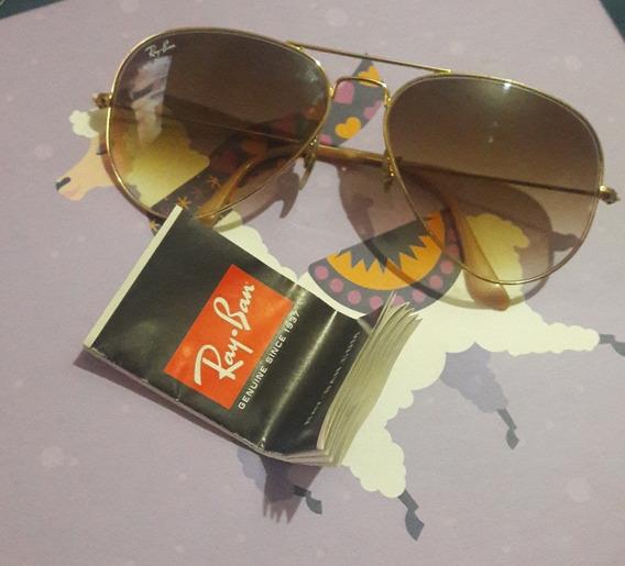 Óculos Aviador Ray-ban Lente Marrom Degradê