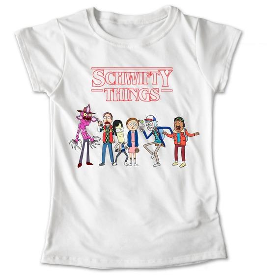 Blusa Stranger Things Rick Y Morty Schwifty Playera #538