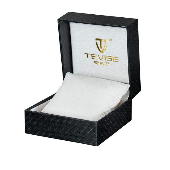 Tevise Cajita Caixa De Relógio Luxo Couro Pu Presente Preto