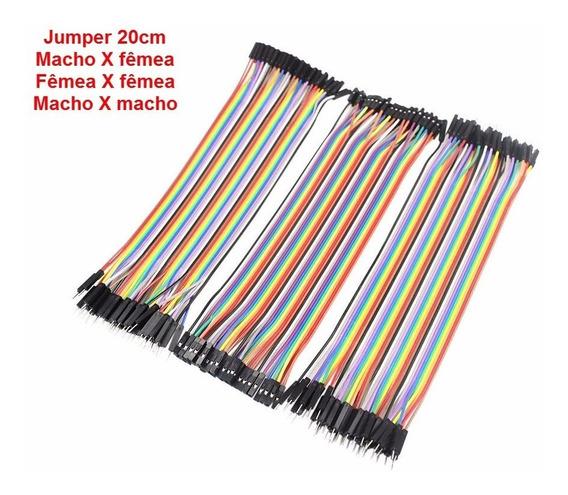 60 Pçs Jumper Macho X Macho X Femea X Femea 20cm Arduino Pic