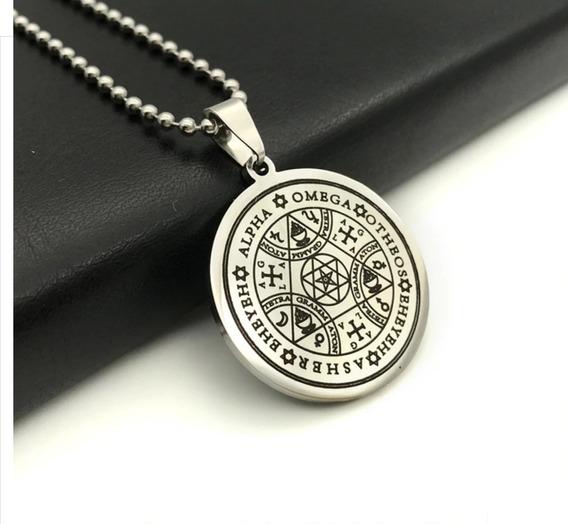 Selo Sete Arcanjos Tetragrammaton Salomão Aço Amuleto Wicca