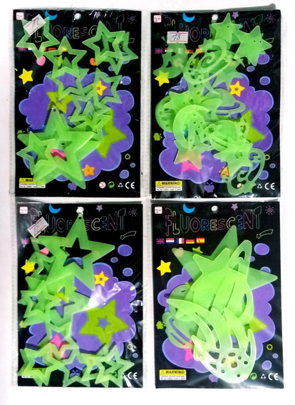 Estrellas Planetas Lunas Soles Cometas Fluoresentes X 53 Uni
