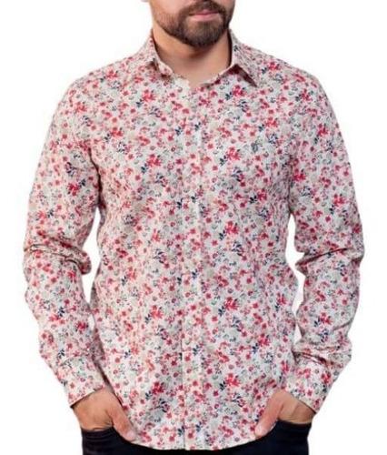 Camisa Linho Estampada: Flores - Lino Fiori Rosso