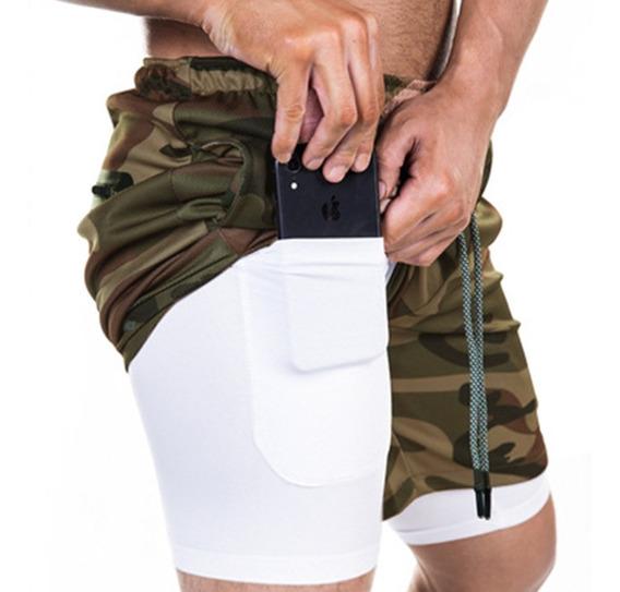 Pantalón Corto Deportivo Para Correr 2 En 1 Para Hombre
