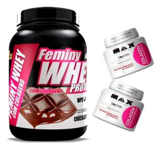 Femini Whey 900g + 2 Colageno- Max Titanium - Wey Proten Way