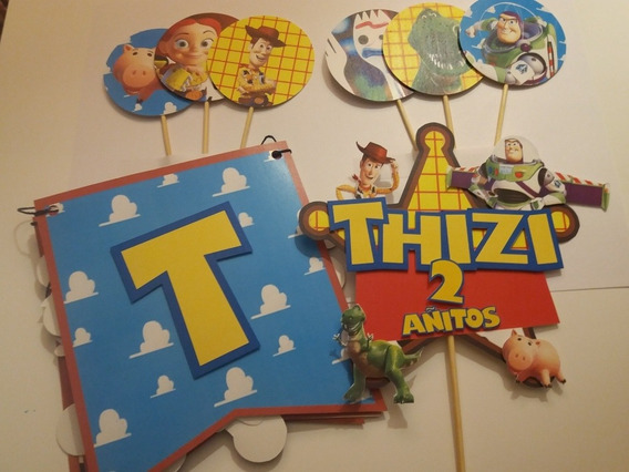Cumpleaños Toy Story - Banderin, Adorno Torta, Toppers