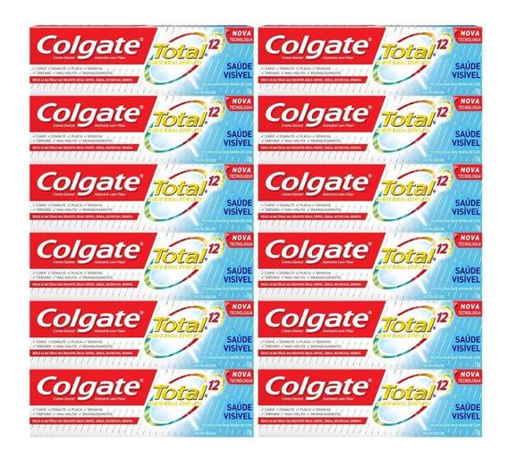 Kit Creme Dental Colgate Total 12 Saúde Visível 70g C/ 12 Un