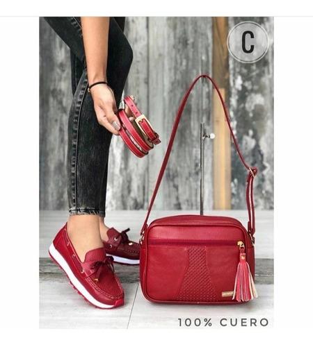 Zapatos Dama, Mocasín Dama 100% Cuero+correa+bolso, Trio