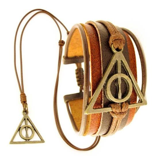 Kit Pulseira Couro + Colar Harry Potter Relíquias Da Morte