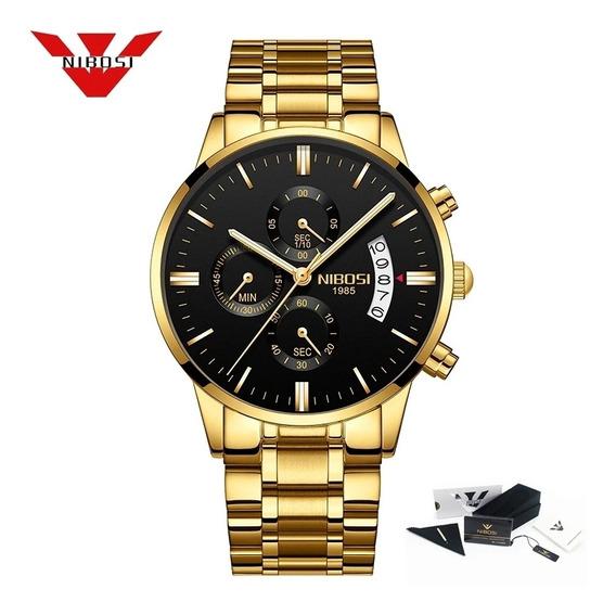 Relógio Nibosi 2309 Dourado Lindo Na Caixa Original Luxo Top