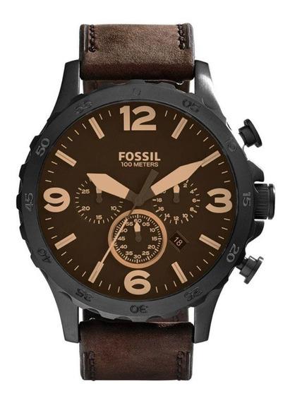 Relógio Masculino Fossil Couro Marrom Jr1487/0mn Original