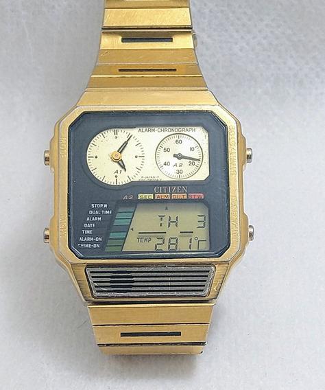 Relógio Citizen 8986-087089y Raridade Alarm Chrono Temp Dual