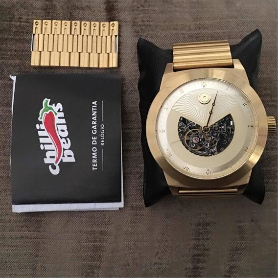 Relógio Automático Dourado Chilli Beans - Coleção