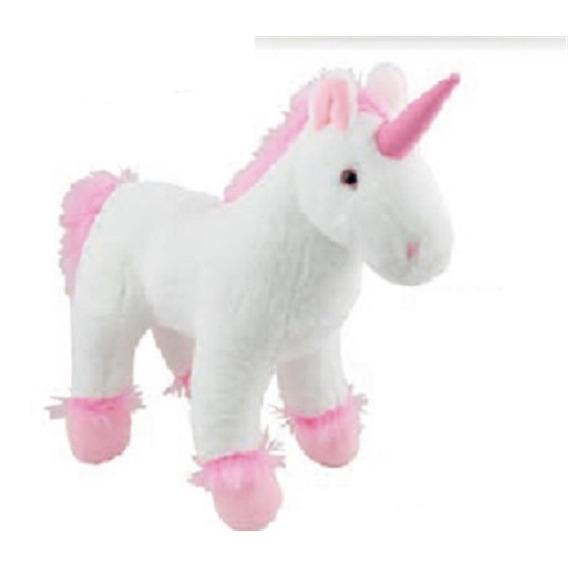 Unicornio De Pelucia Branco Realístico Em Pe Lindo