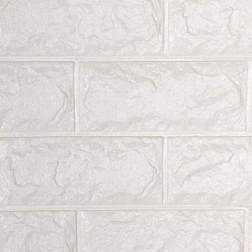 Imagen 1 de 7 de Panel Adhesivo 3d Simil Piedra Blanco Medida70x77cm