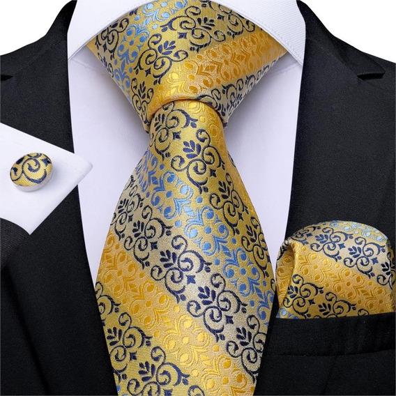 B7342 Seda   Corbata Pañuelo Mancuernillas   Amarilla Azul