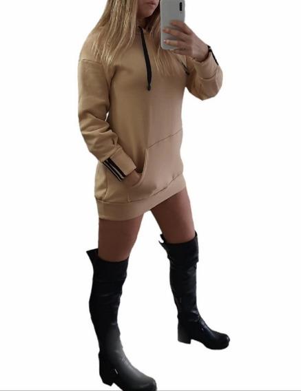 Buzo Hoodie Frizado C/capucha Largo Mujer Invierno Fitness